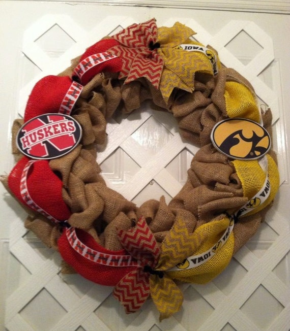 Nebraska Cornhusker / Iowa Hawkeyes House Divided Wreath - House Divided Wreath - College Football - Big 12 - Door Wreath - Wreath