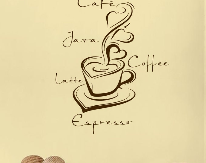 Coffee Java Café Espresso Latte Cup heart Wall Decal Vinyl sticker home decor wall saying kitchen coffee table sign