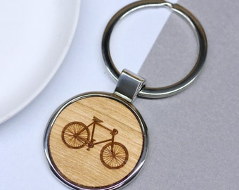 Bicycle Keyring, Personalised Keyring, Bicycle Keychain, Engraved Keyring, Cyclist Gift, Custom Bike Key Ring, Cycling Gift, Gift for Dad