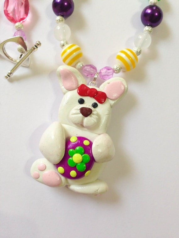 Easter bunny girls necklace childrens necklace Easter girls necklace polymer clay bunny jewelry Easter toddler necklace Easter theme jewlery