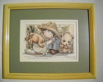 Jody Bergsma Print All I Want Is Cookie 1982 Signed Numbered Lithograph Cute Child's Room Nursery