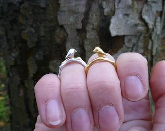 Little bird twig ring. Branch ring. Yellow gold vermeil