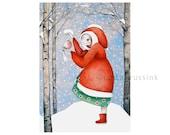 Christmas art card, Xmas art, lowbrow pencil drawing, pop surrealism, fantasy art, fairytale art, big eyed girl in red coat, bird, snow