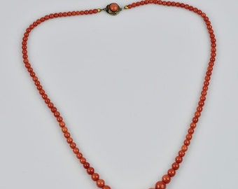 Genuine Victorian Natural red coral bead necklace