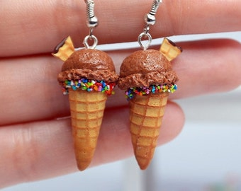 Chocolate ice cream earrings Miniature food jewelry, polymer clay ice cream, miniature food earrings,  Waffle Cone