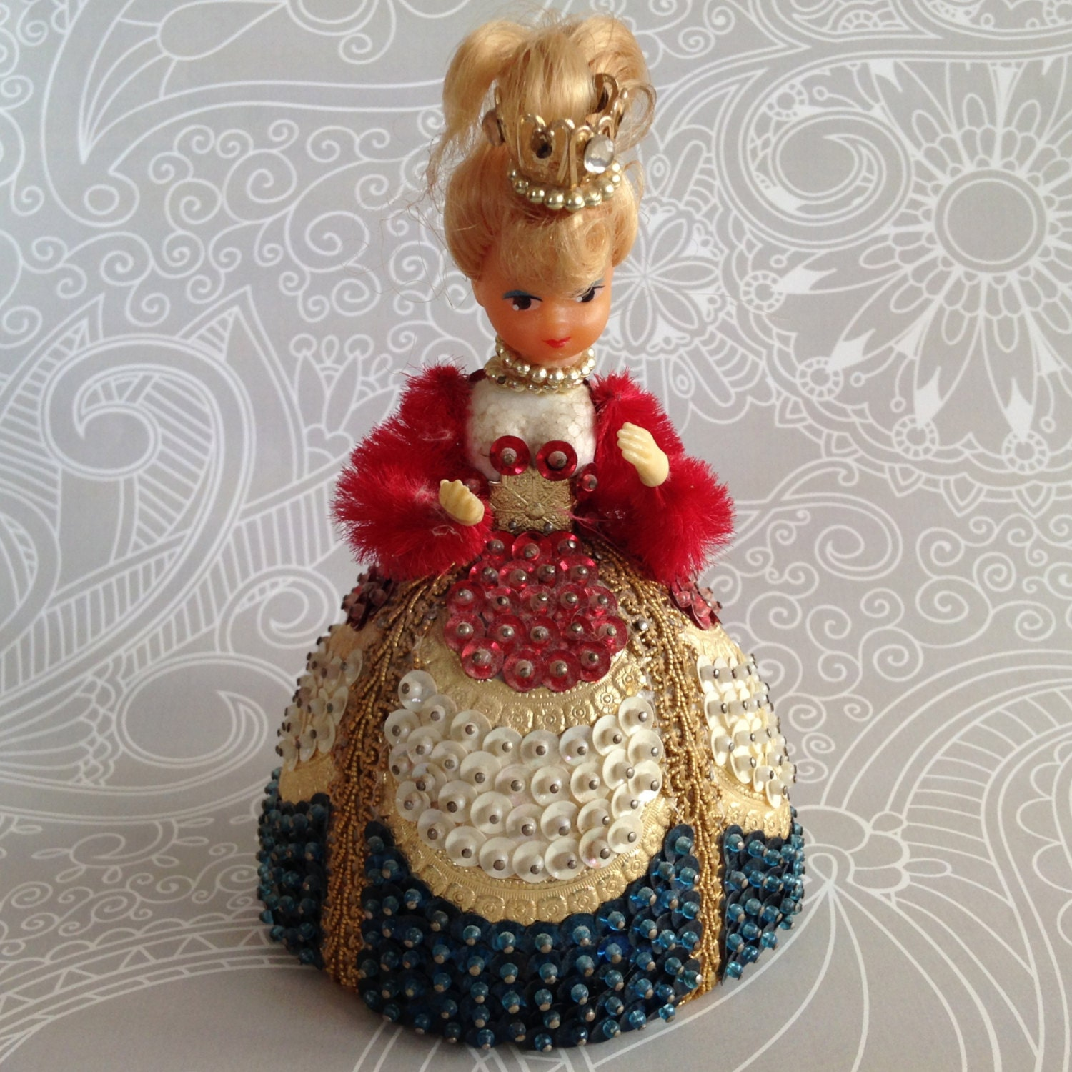 vintage pinflair sequin beaded doll
