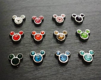 Crystal Micky Floating Charm for Floating Lockets-Choose from 12 Crystal Mickey Charm Colors-Gift Idea