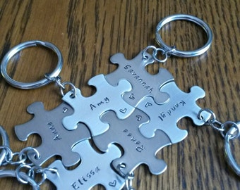Hand Stamped Personalized Best Friends Puzzle Piece Keychains - Bridal Party - Best Friends - Sisters - Wedding Party Gifts - Set of 6