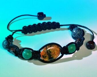 Shamballa Bracelet energizing, soothing - azurite, agate, wood   ∞ Universe Azure ∞