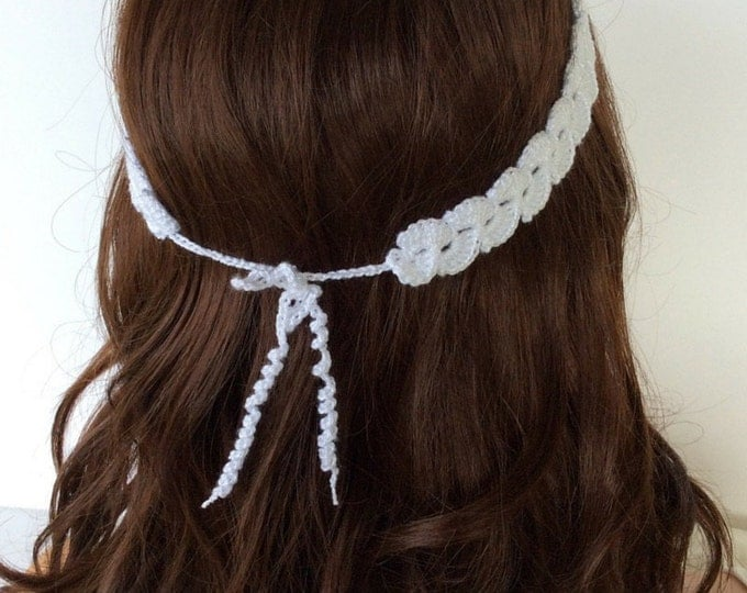 Boho Style White Crochet Headband, Beach Boho Dainty Crochet Headband, Summer Waves Headband for Women or Teens