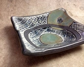 Spoon Rest or Ring Dish in a Gray & Green Textured Design, Handmade from Porcelain for a OOAK Plate. Gifts Under 25. 4.25 sq. Food Safe