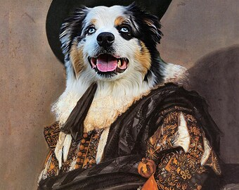 The Laughing Cavalier by Frans Hals - Custom Pet Portraits - Dog Portraits and Cat Portraits- Digital pet portrait painting using your Photo
