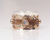 Rainbow Moonstone Ring, Rose Cut Moonstone,Celtic Ring, Meditation Ring, Sterling Silver and Bronze Ring, Mixed Metal