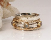 Moonstone Ring, 6 1/4 Size,Gold and Silver Ring, Rose Cut Moonstone, Celtic Ring, Meditation Ring, Mixed Metal, Spinner Ring