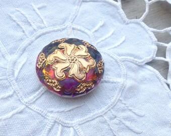 Hand Painted Czech Glass Button - 28 mm - (1 1/16 Inch) - Green Blue Purple Fuchsia Fucshia Gold