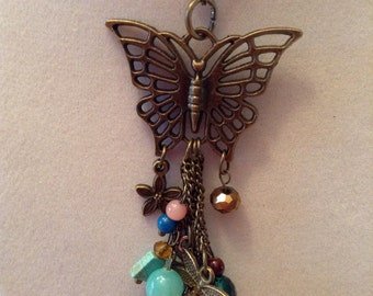 Gold Chain and Butterfly Beaded Charm Necklace