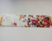 Fluttering Butterfly Bracelet - Statement Cuff Bracelet - Beadwoven Peyote Bracelet - Mother's Day Gift