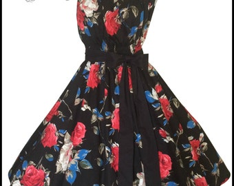 Black rose swing dress plus size XL 50s pinup vintage dance 1950s inspired