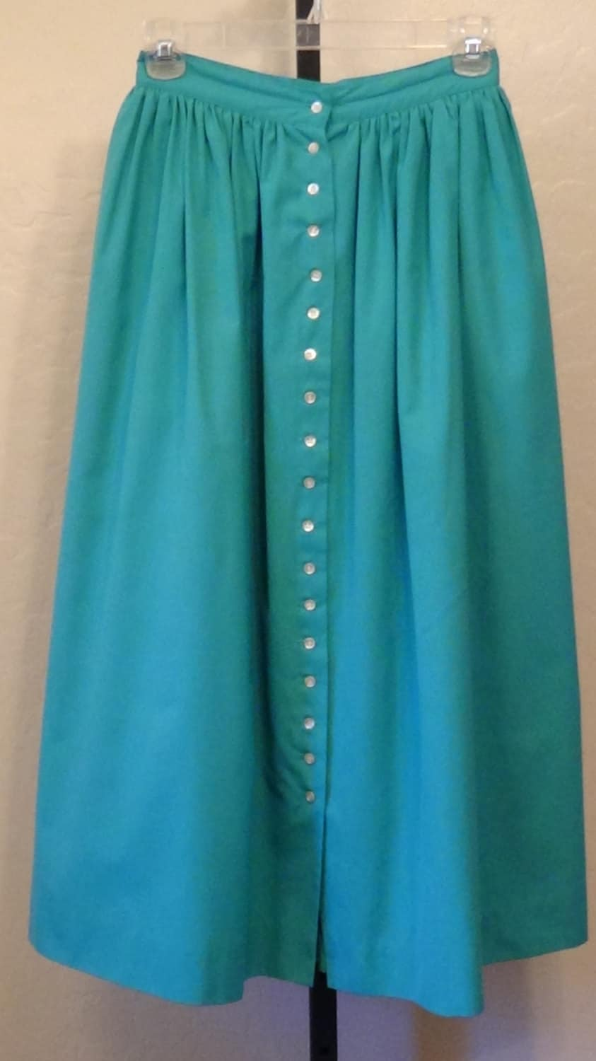 vintage teal turquoise skirt midi skirt by juniperlaneaz