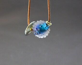 """Blue Necklace, """"Cosmique"""", Glass Lampwork Necklace, Lampwork Glass Beads, Blue Necklace, Adjustable Necklace, Bead Necklace, Glass Beads"""