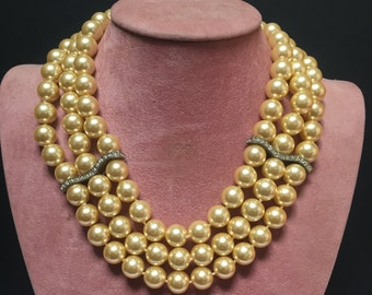 Faux Pearl Triple Strand Necklace