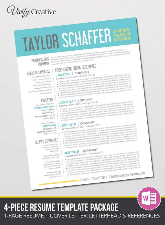 items similar to resume template editable download - cover letter  references