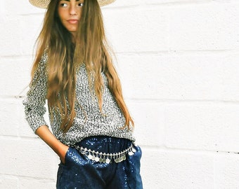 Handmade, Matte Sequin Shorts, Elastic Waist, Navy, Grey, Side Pocket Shorts, Boho, Evening Shorts; XS, Small