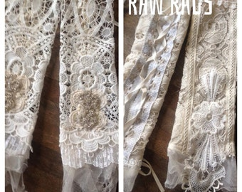 Wedding gloves , handmade delicate gloves , made from antique delicate laces combined with crochet and rhinestone , lace up in the back.