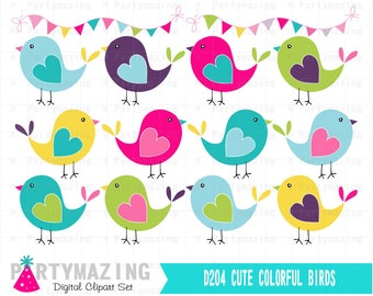 Bird ClipArt Set, Hand drawn Bright Colors Clip Art Graphic Set, Instant Download - D204