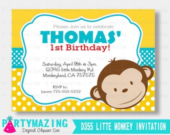 Little Monkey Invitation, Mod Monkey Printable invitation D355