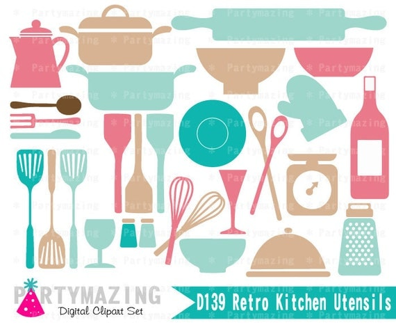 Kitchen Clipart Set Retro Kitchen Utensils Clip Art Graphic