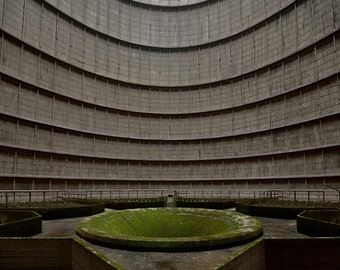 Photography of an abandoned cooling tower, in a power station in Belgium