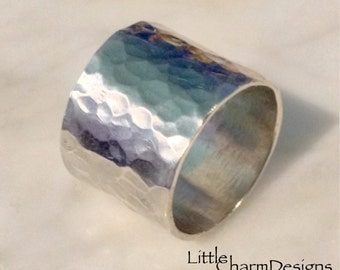 Wide Hammered Ring - Made to Order