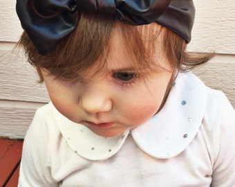 Vegan Black Leather; top knot, baby headband, leather baby headband, black leather baby headband, solid black baby headband