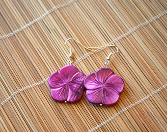 Beautiful Mother of Pearl Flower Pendant Earrings - Special Spring Offer