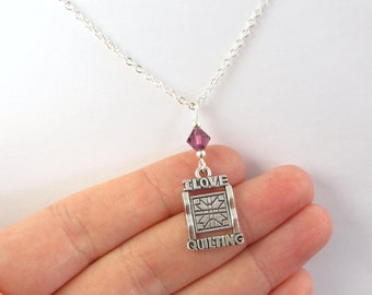 I Love Quilting Necklace- choose a color, Quilting Jewelry, Quilt Charm Necklace, I Love to Quilt, Sewing Jewelry, Gift for Quilter