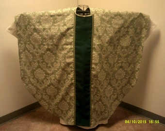 LAY A WAY AVAILABLE Green Damask Gothic Style Clergy Chasuble and Stole Priest Anglican Catholic Lutheran Episcopalian Methodist