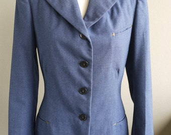 Vintage 1940s Blazer Jacket Womens Blue Wool Chartreuse Arrows on Pockets - Small