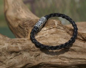 Brunette Braided Horsehair Bracelet With Silver Plate Magnetic Closure