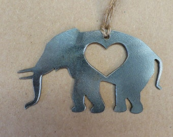Elephant Love Rustic Metal Recycled Steel Heart Christmas Tree Ornament Holiday Gift Industrial Decor Wedding Favor By BE Creations