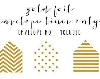 gold foil envelope liner only (envelope not included) - set of 10