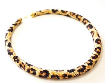Necklace Leopard  crochet beads leopard print