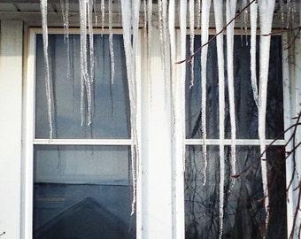 Ice Curtain - Original Fine Art Photograph - Icicles