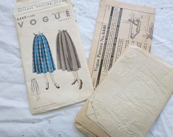 1952 Vogue 6440 Skirt Pattern 1950s Vintage Sewing Pattern