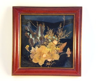 Framed Pressed Flowers signed on back by Evelyn Huckey 1977