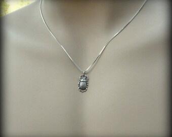 Sterling silver beetle necklace, Entomologist necklace