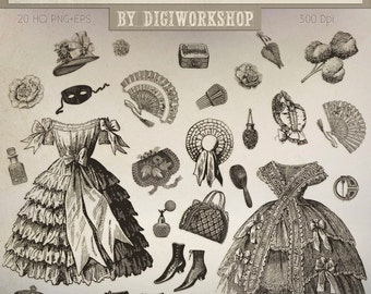 """Fashion Clip art: """"Vintage Women Fashion"""" victorian clipart contains various elements of vintage women's clothing and accessories"""