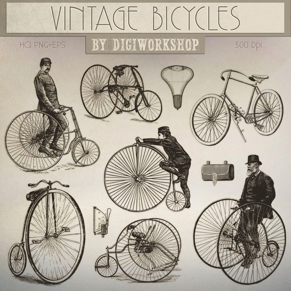 Bicycle Clip Art: Vintage Bicycles retro digital