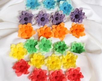 Vintage Rainbow Cake Decoration Edible : fondant flowers 12pcs malibu blue silver ombre edible flowers