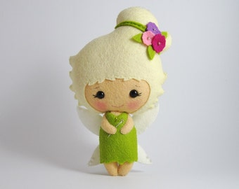 MADE TO ORDER Little fairy tinker bell soft wool felt doll plushie